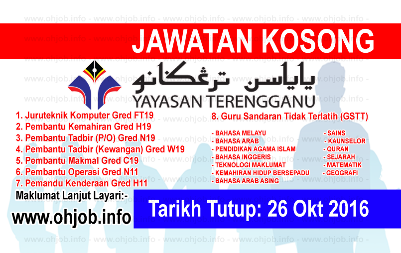 Jawatan Kerja Kosong Yayasan Terengganu (YT) logo www.ohjob.info oktober 2016