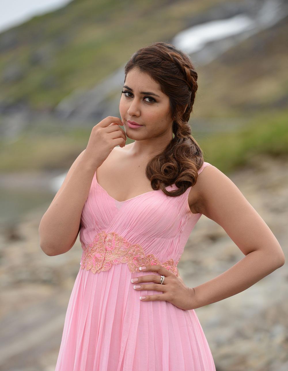 Rashi Khanna Latest Hot Stills In Rose Color Dress