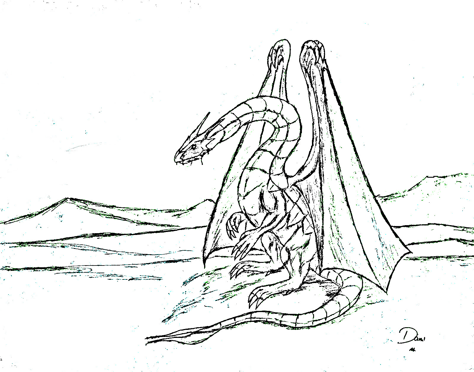 Coloring Page World Desert Dragon