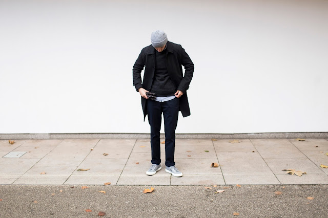 men's style inspiration, wearing asos coat with reiss navy chinos and grey superga trainers