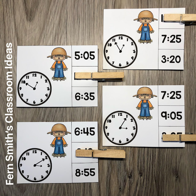 Click Here to Grab These Fall Scarecrow Themed Time to the Five Minutes Clip Cards for Your Class Today!