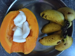 Papaya, Rasthaali banana, Coconut