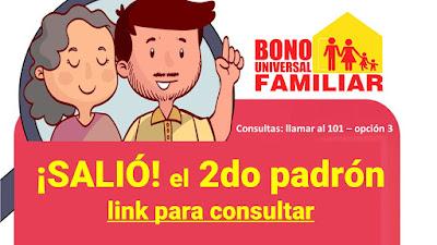 SALIO el 2do PADRON Bono Familiar Universal 760 soles del MIDIS enlace aqui