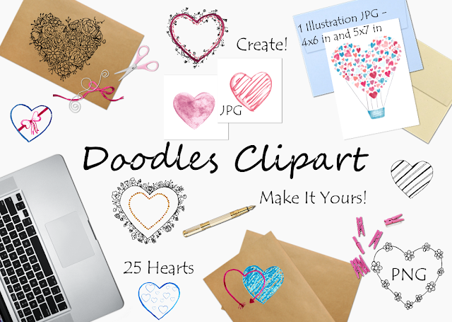 Doodle Hearts Clipart Collection