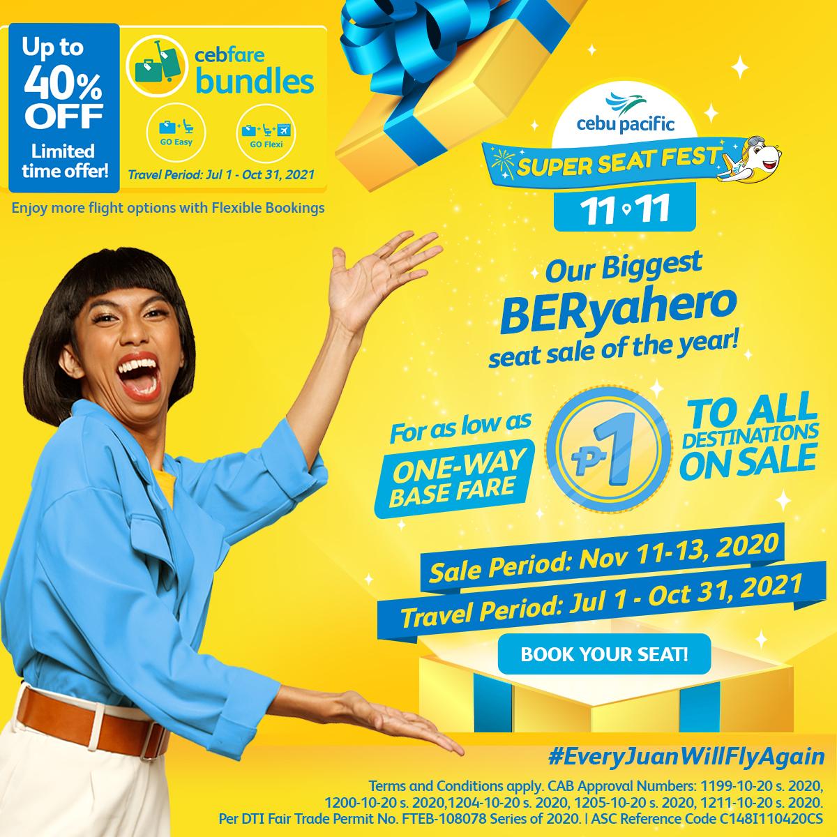 Cebu Pacific Seat Sale 11.11 November 11, 2020