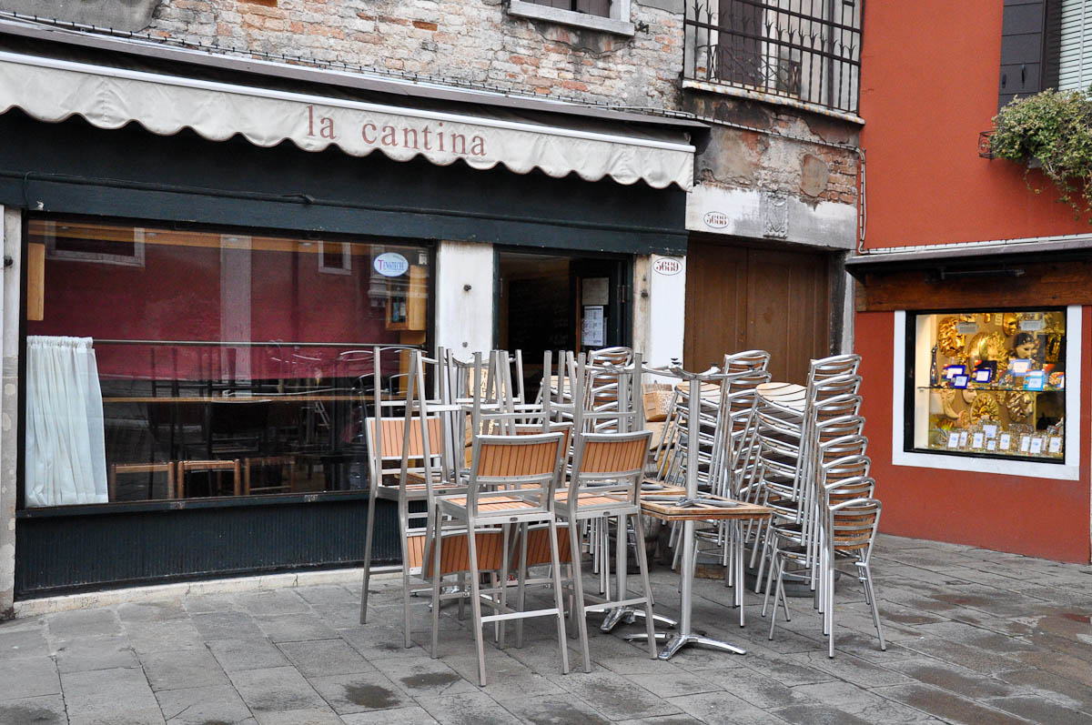 Unopened restaurant, Venice, Italy