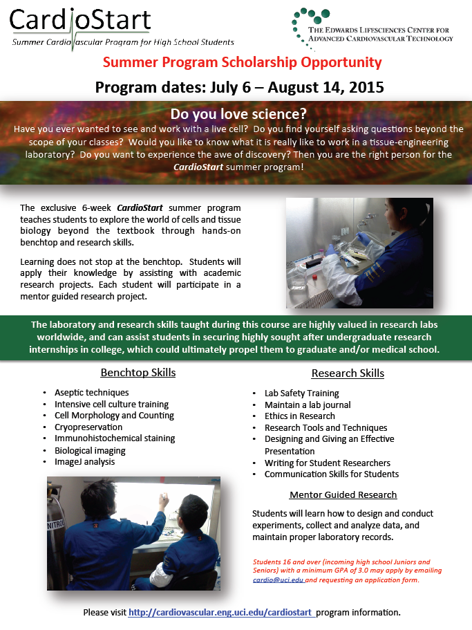 Exciting STEM opportunity for high school students - Project