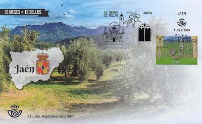 Jaén, 12 meses, 12 sellos, 12 provincias, matasellos, sello, sobre, filatelia,