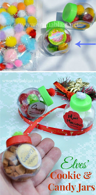 Every Elf needs his own stash of sweet treats and these tiny jars are adorable ! Perfect kids craft .. and they will love to see what the Elf was up to when they weren't looking ! #ElfOnTheShelf #Christmas #KidsCraft