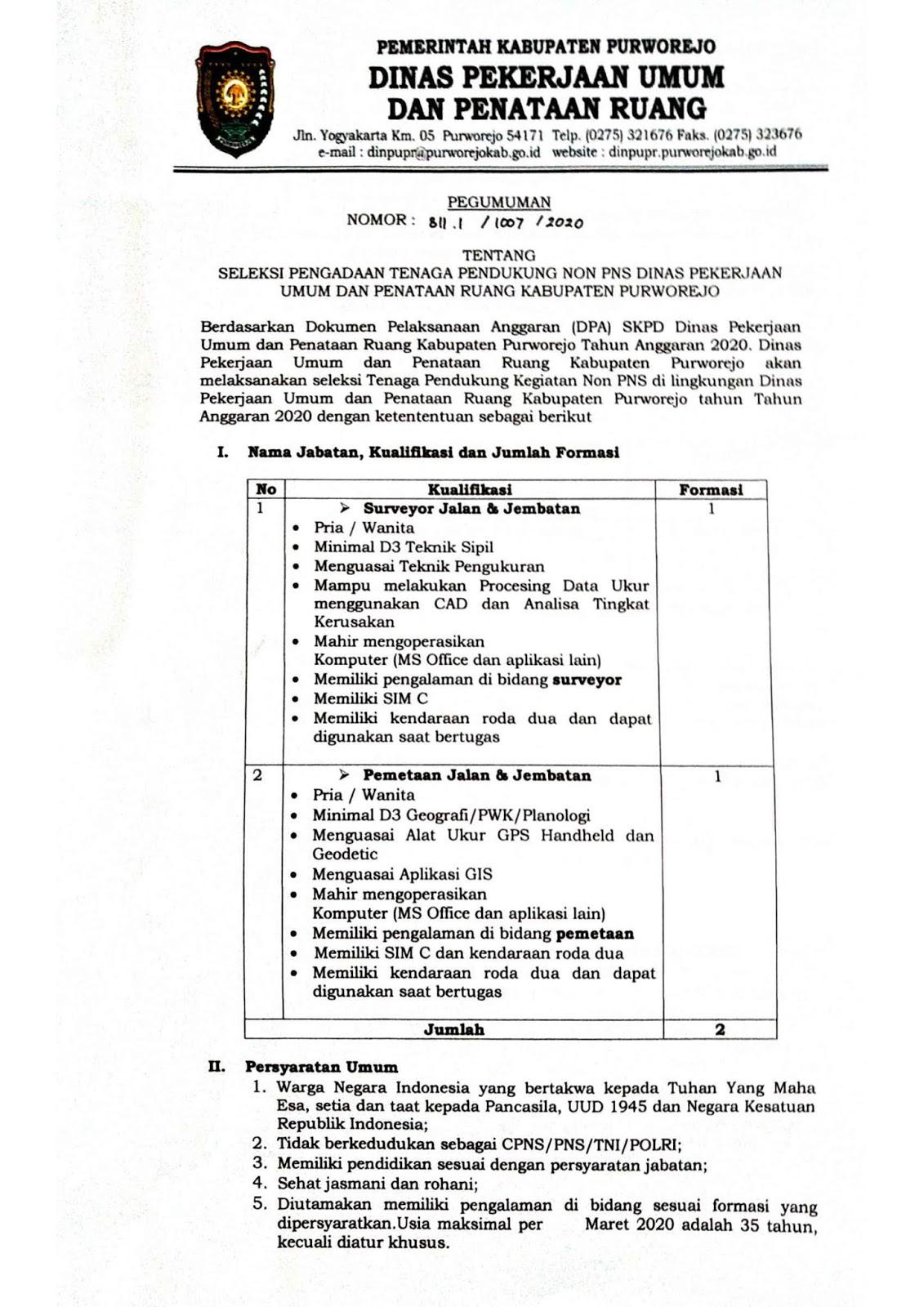 Rekrutmen Tenaga Pendukung Non PNS Dinas Pekerjaan Umum dan Penataan Ruang Bulan Maret 2020