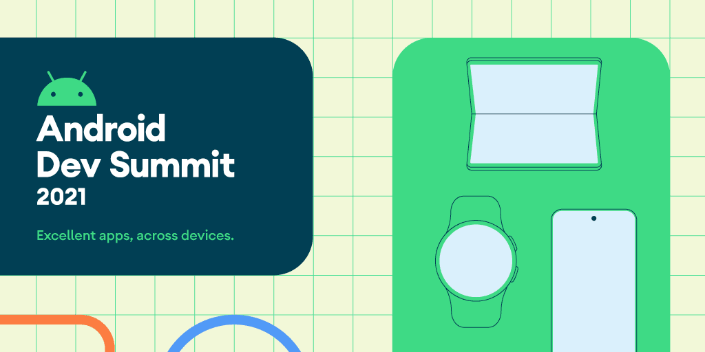Android Dev Summit graphic with laptop, watch and phone