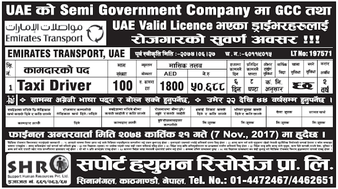 Jobs in UAE for Nepali, Salary Rs 50,688