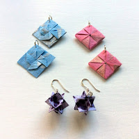 three pairs of origami earrings folded three different ways