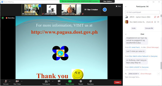 Zoom Training invitation for Rice Watch Action Network (RWAN) or the 3-day Buguias CIS Training with pagasa