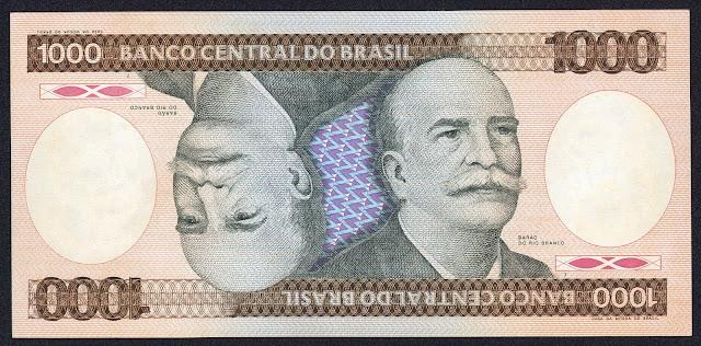 Brazil 1000 Cruzeiros banknote 1982 Barão do Rio Branco World Banknotes & Coins Pictures   Old ...