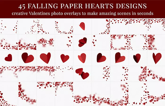 Falling Paper Hearts - Photo Overlays