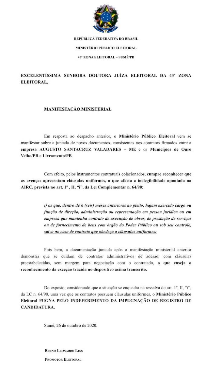 Promotor de Justiça pede arquivamento da denúncia contra Dr. Augusto
