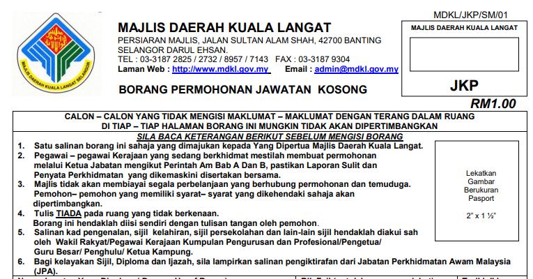 Jawatan Kosong di Majlis Daerah Kuala Langat (MDKL)