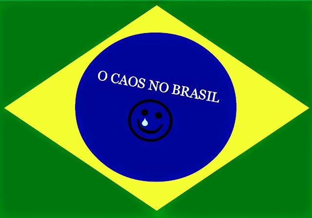 A foto mostra o centro da bandeira do Brasil: lágrimas, choros, dores sofrimentos é o caos no Brasil.