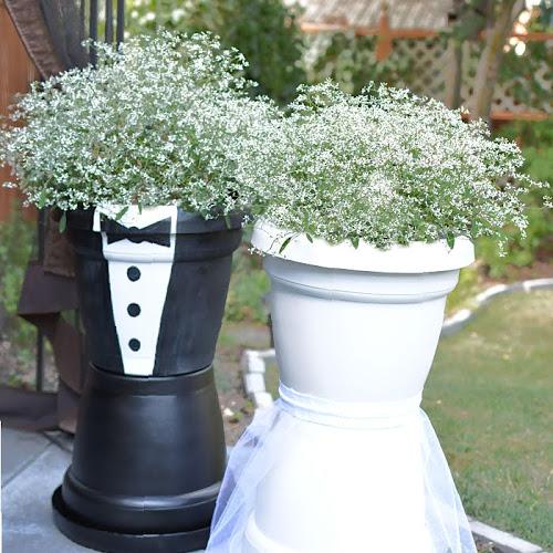 Adorable Bride and Groom Wedding Flower Pots
