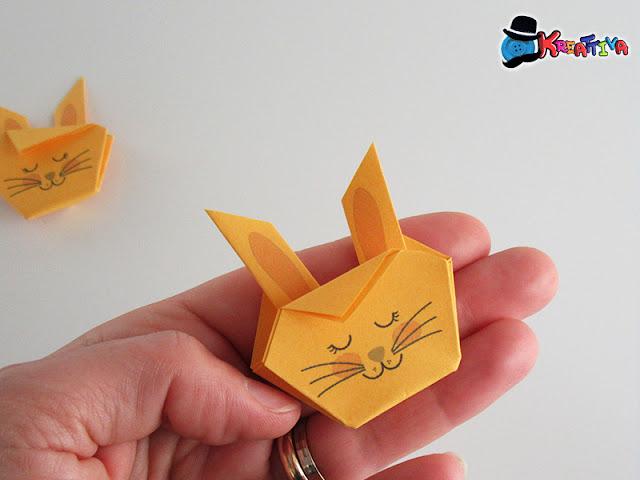 Coniglietto origami per decorazione albero di pasqua