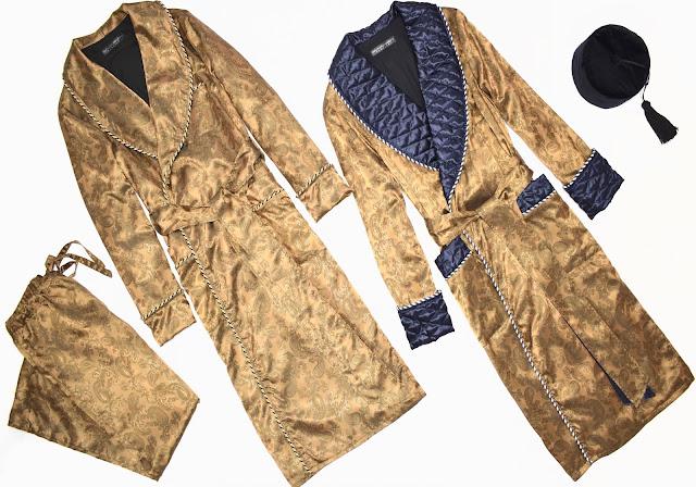 mens paisley silk robe pajamas dressing gown smoking jacket quilted