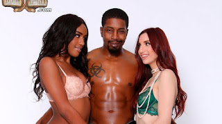 Interracial FFM threesome with Ashley Aleigh and April Snow