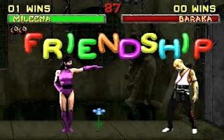 Captura de Mortal Kombat II, Friendship, momento en que Mileena regala una flor a Baraka