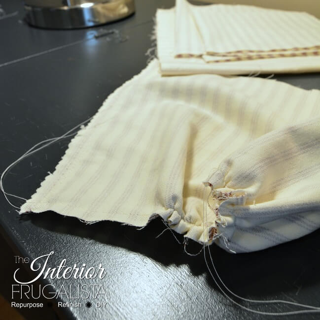 Ticking Fabric Pumpkins Basting Stitch