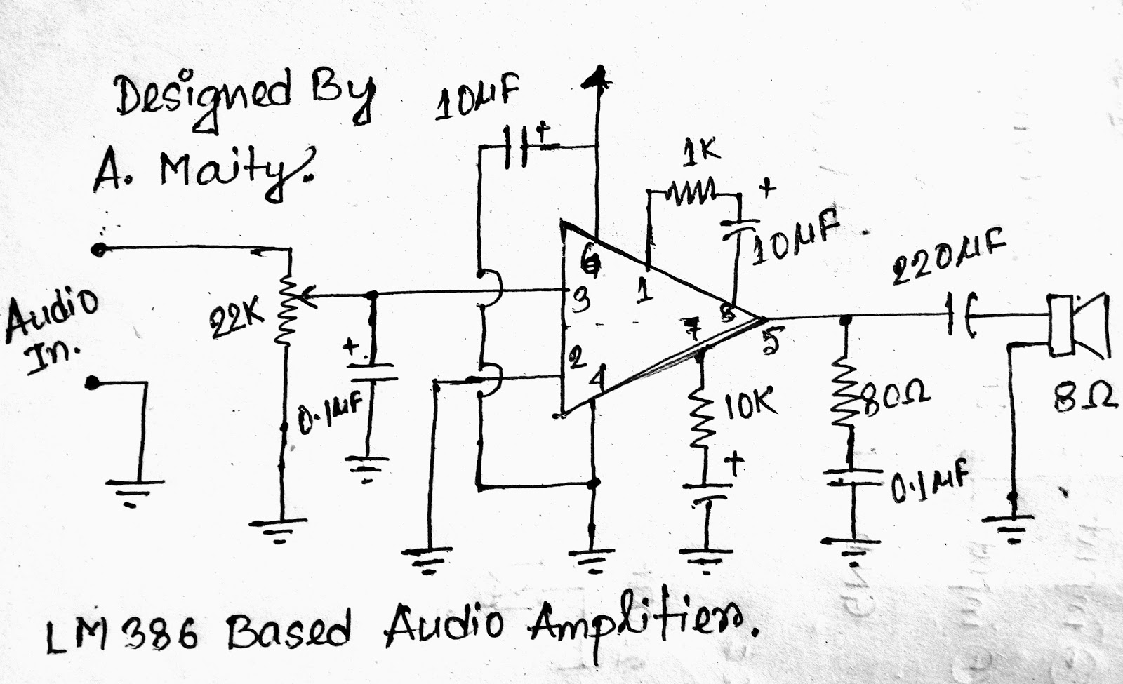 Eee Projects And Innovations Make 1 Watt Audio Power Amplifier Low Voltage Lm386 Here Is The Circuit Diagram