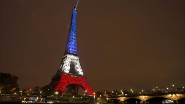 The Eiffel Tower was lit in the colours of the French flag in a tribute to the victims of the Paris Attacks.