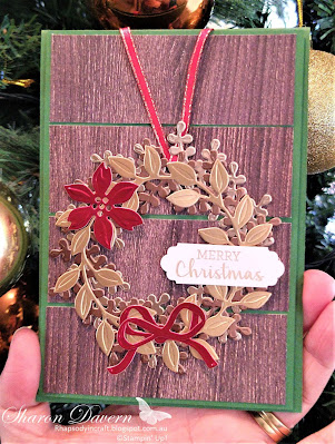 Rhapsody in craft, Arrange a Wreath, Aug-Dec Mini 2020,  2020-21 Annual Catalogue, Stampin' Up, Stampinup, In Good Taste DSP, Lovely Labels Pick a Punch, Christmas Cards,  Brushed Metallic Card Stock, Christmas, Heart of Christmas 2020