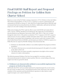 EGUSD Staff Report Recommending Denial to Tri-Valley, Golden State Charter School Petition