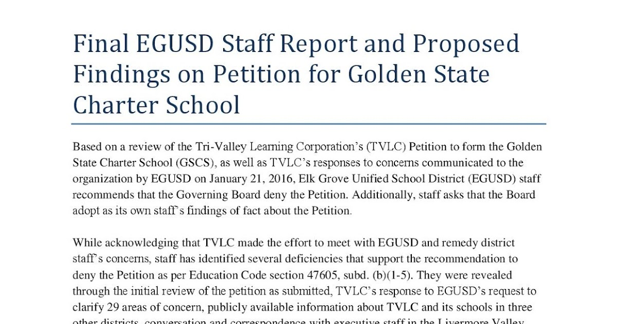 Egusd Staff Report Recommending Denial To Tri-Valley, Golden State
