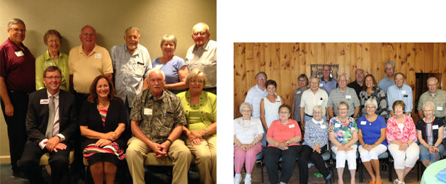 Dean Durgan with retirees in Rochester (left) and Detroit Lakes
