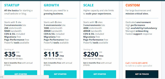 Wp Engine  managed hosting plans- prices and features for wordpress sites