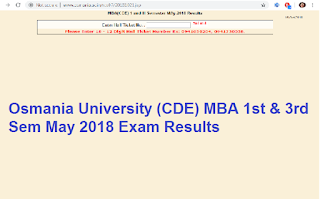 Manabadi Osmania University (CDE) MBA 1st & 3rd Sem May 2018 Exam Results
