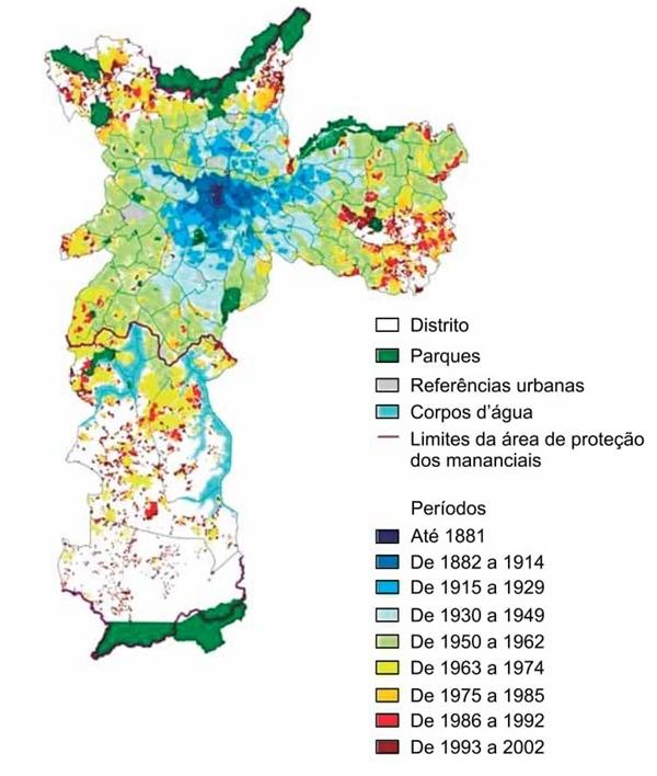 Expansão da área urbanizada, 1881-2002