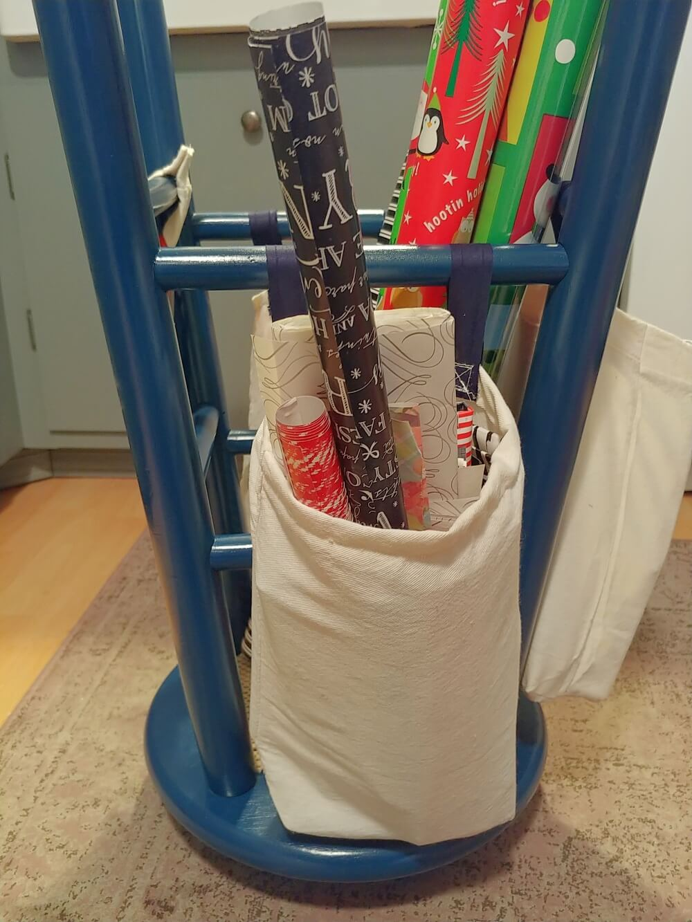Upcycled Stool Gift Wrap Storage