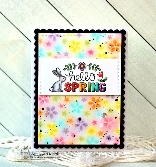 Hello Spring by Larissa Heskett for Newton's Nook Designs using Hello Spring Stamp, Petite Flowers Stencil and Frames and Flags Die Set  #newtonsnook #newtonsnookdesigns #hellospring #petiteflowersstencil #distressinks