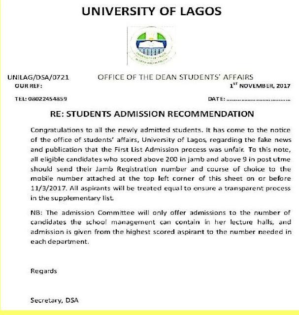 UNILAG Notice to Prospective Students