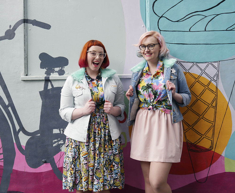 blog birthday, blogging duo, Edinburgh bloggers, Scottish bloggers, blogger style, Edinburgh street style, colourful style, clashing prints, pink hair, dip dye, red hair, ginger, girls who wear glasses, Monki style, customised denim jackets, milkshakes, Rollershakes, Hawaiian shirts, faux fur, ice cream cone graffiti, Edinburgh street art, colourful wall art