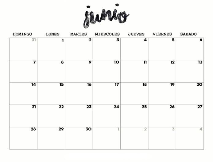 calendario 2020 de junio para imprimir
