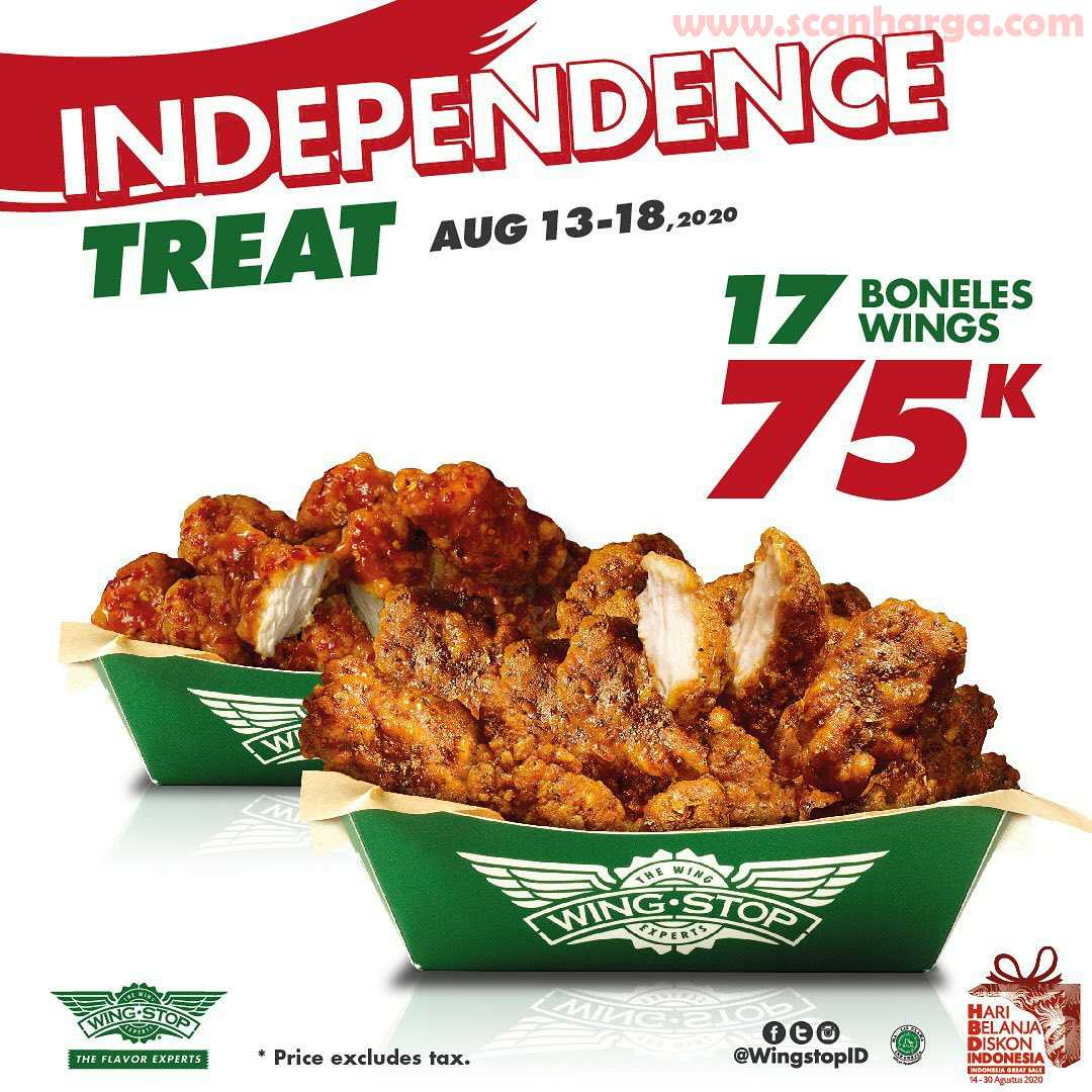 Wingstop Promo Merdeka Paket 17 Boneles Wings 75K Periode 13 - 18 Agustus 2020