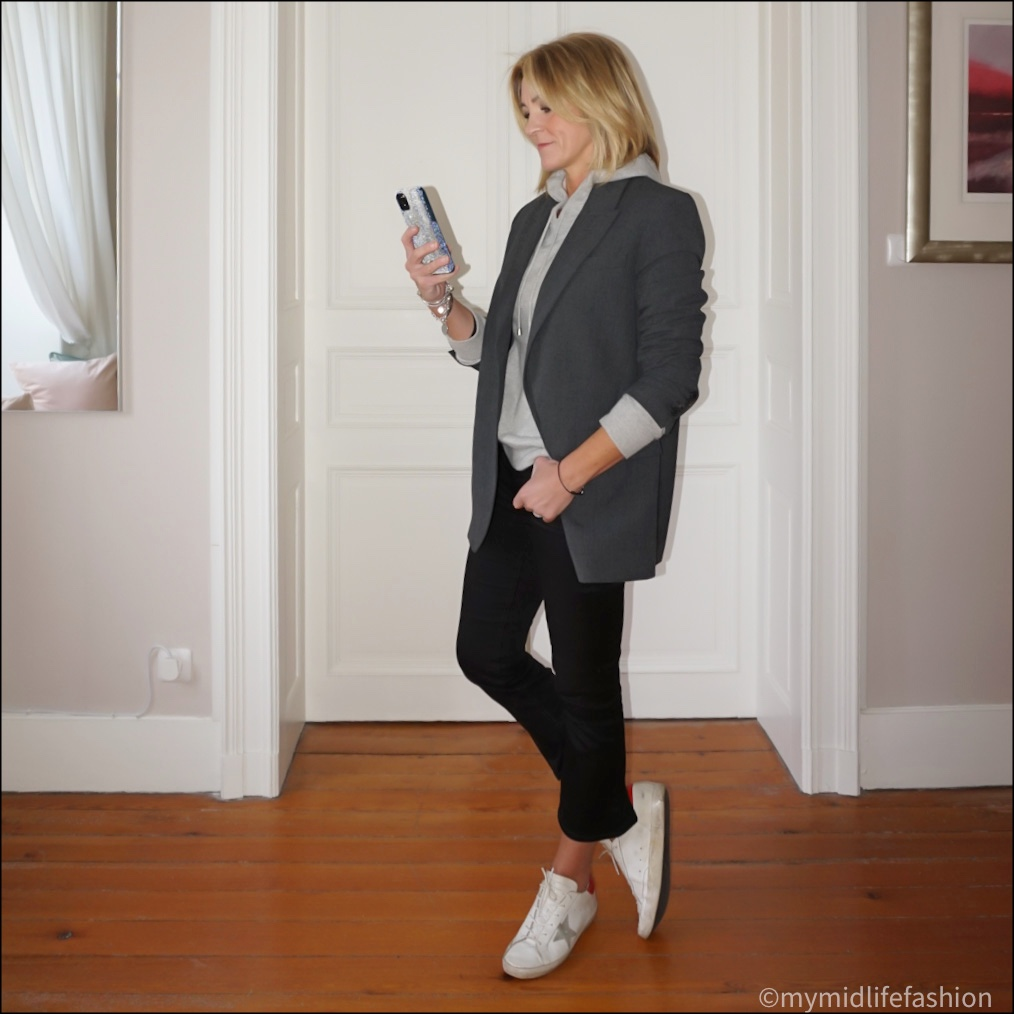 my midlife fashion, zara oversized blazer, marks  and Spencer pure cashmere hooded jumper, j crew cropped kick flare jeans, golden goose superstar low top  leather  trainers