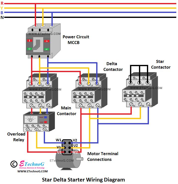 Star Delta Starter wiring connection diagram, wiring for star delta starter