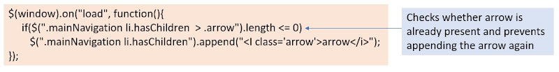 jQuery to add the arrow