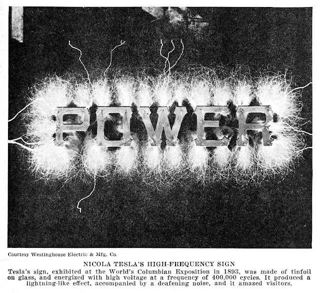 1893 Columbian Exposition Tesla high frequency sign