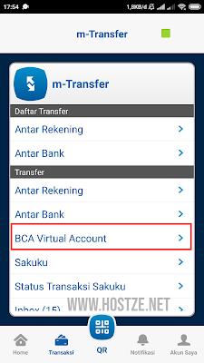 Menu Transfer  BCA Virtual Account - hostze.net