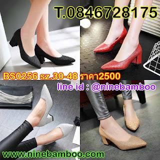 รองเท้าส้นสูงหนังแก้วหัวแหลมหรูใส่ทำงานออกงานแฟชั่นเกาหลี ไซส์32-43 นำเข้า พรีออเดอร์BS0254 B2,500.00บาท